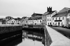 Cityscape during the day in Waterford, Ireland. It is the oldest city in the country. Black and white Stock Image