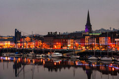 Waterford, Ireland. Panoramic view of a cityscape at night Royalty Free Stock Photo