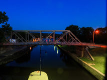 Waterford NY USA - August 2016.  River Lock number 2 at night. Royalty Free Stock Images