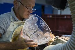 Sculpting Department at Waterford Crystal stock images