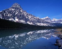 Waterfowl lake, Alberta, Canada. Stock Photo