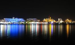 Waterfront. The Red Sea Rivieara in Eilat, Israel. Lots hotels and beautiful reflections off the water Stock Photography