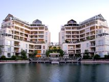 Waterfront 28. Portrait photo of luxury residential unit from canal stock images