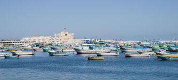 Waterfront in Alexandria. Alexandria, Egypt, waterfront showing Qaitbay Citadel Royalty Free Stock Photos