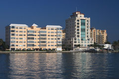 Waterfront Apartment Buildings Royalty Free Stock Images