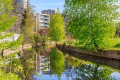 Waterfront Apartments in London. Waterfront apartments located beside new river path in London stock images