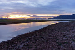 The waterfront area dry, because no rain. Lam takhong dam Royalty Free Stock Photography