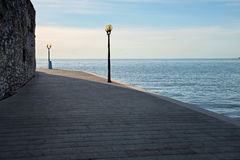 Waterfront area in sunset Royalty Free Stock Photo
