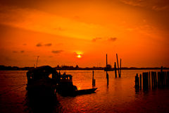 Waterfront atmosphere. The waterfront atmosphere before sunset royalty free stock images
