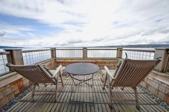 Waterfront Balcony on Whidbey Island, WA Royalty Free Stock Photo