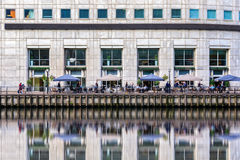 Waterfront bar in Canary Wharf, London Stock Image