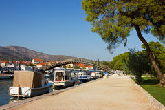 Trogir Waterfront with boats lined along the coast Royalty Free Stock Images