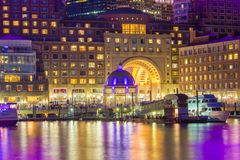 Waterfront of Boston at night. The waterfront and harbour in Boston at night Stock Image