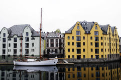 Waterfront Buildings, Boats on Water, Alesund Norway Royalty Free Stock Images
