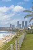 Waterfront Buildings and Beach Natal Brazil. Modern waterfront buildings and paradise beach in Natal, Brazil Stock Photo