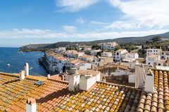 Waterfront and buildings of Cadaques, Spain Stock Image