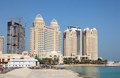 Waterfront buildings in Doha Royalty Free Stock Photography