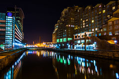 Waterfront buildings at night in the Inner Harbor, Baltimore, Ma Royalty Free Stock Image