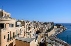 Waterfront buildings, Valletta. Royalty Free Stock Images