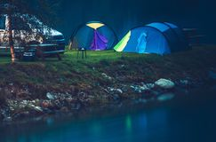 Waterfront Camping Spot Stock Photo