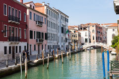 Waterfront of canal Rio San Lorenzo in Venice Royalty Free Stock Images