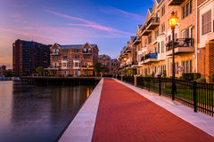 The waterfront in Canton at twilight, Baltimore, Maryland. Royalty Free Stock Image