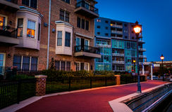 The waterfront in Canton at twilight, Baltimore, Maryland. Royalty Free Stock Images