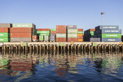 Waterfront Cargo Containers Royalty Free Stock Photos