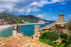 Waterfront and castle of Tossa de Mar. Costa Brava Royalty Free Stock Photography