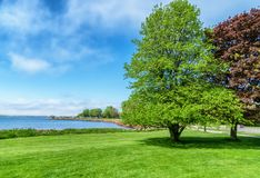 Waterfront of Charlottetown, Prince Edward Island. View of Charlottetown Harbor and Victoria Park from the lawn at Beaconsfield on Prince Edward Island, Canada Royalty Free Stock Photography