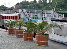 Waterfront in the city of Prague and the ship, Czech Republic, Europe Royalty Free Stock Images
