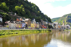 Waterfront in Cochem town on Moselle river Stock Images
