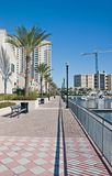 Waterfront condo walkway. Brick paver walkway along the waterfront by luxury condominiums in Jacksonville Royalty Free Stock Image