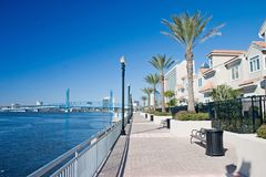 Waterfront condo walkway 2 royalty free stock images