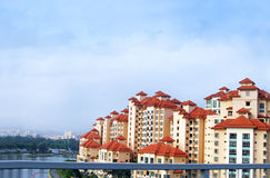 Waterfront condominiums stock image