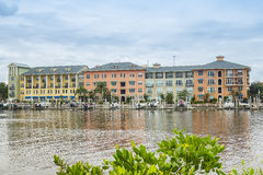 Waterfront Condominiums With Boat Slips Stock Images