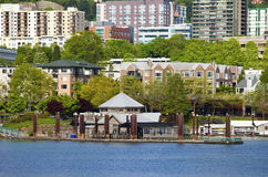 Waterfront condominiums and businesses. Royalty Free Stock Images