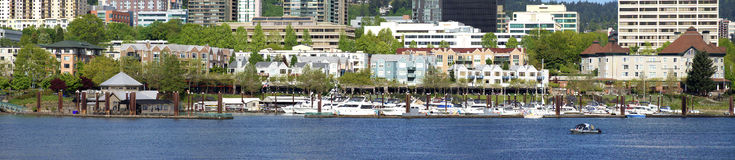 Waterfront condominiums and marina, panorama. Stock Photography