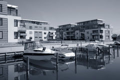 Waterfront condos. Modern waterfront condos - Denmark. - Duotone Royalty Free Stock Images
