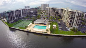 Waterfront condos with a pool stock video