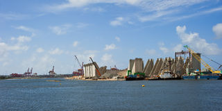 Waterfront construction. Construction on the waterfront at Botany Bay, Australia where a new wharf is being built. Copyspace stock photos