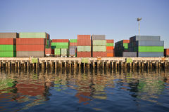 Waterfront Containers in Warm Afternoon Light. Stock Image