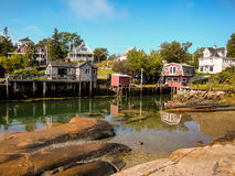 Waterfront Cottages in Fishing Village Royalty Free Stock Images