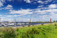 Waterfront in Cuxhaven, Germany with lighthouse Stock Photo