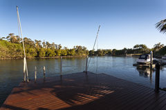 Waterfront deck Stock Images