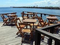 Waterfront deck patio Royalty Free Stock Photo