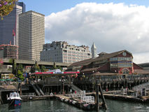 Waterfront and Downtown, Seattle, Wasington. The waterfront in Seattle downtown is a big draw for tourists offering both shopping and fine dining near Puget Stock Images
