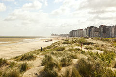 Waterfront, dunes and beach near Zeebrugge royalty free stock photo