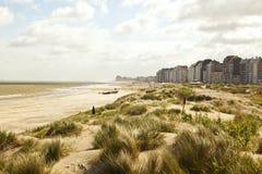 Waterfront, dunes and beach near Zeebrugge Royalty Free Stock Photo