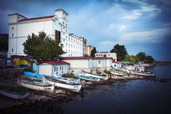 Waterfront at dusk at Balchik in northern Bulgaria Stock Images